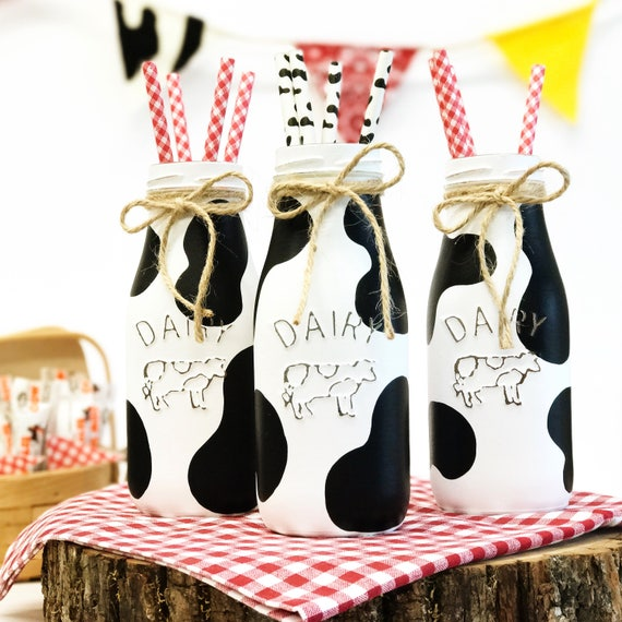 Set Of 3 Cow Dairy Bottles Country Home Decor Rustic Milk