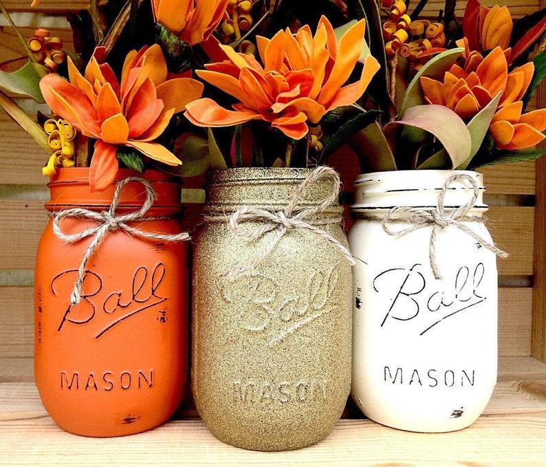 Pick 3 Mason Jar Trio Autumn Home Decor Fall Decor Etsy