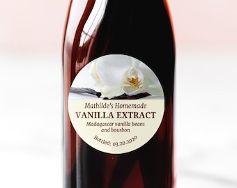 """Package of 12 2/"""" square Vanilla Extract Labels"""