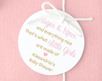 Baby Sprinkle Favor Labels #187-WH Girl Baby Shower Thank You Stickers Baby Shower Favor Stickers Sugar and Spice and Everything Nice
