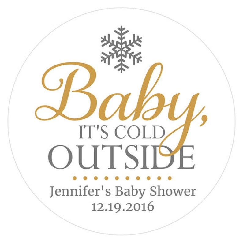 Baby its cold outside baby shower Baby its cold outside stickers RW089 Winter baby shower favors stickers