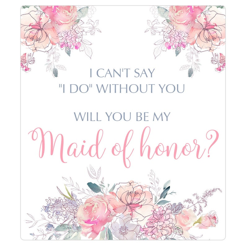 Maid of honor wine label Bridesmaid proposal wine label - Maid of honor wine labels flowers 011WIL