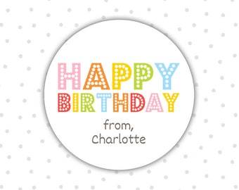 Happy Birthday stickers - Birthday stickers - Personalized birthday stickers - Gift stickers (RW106)