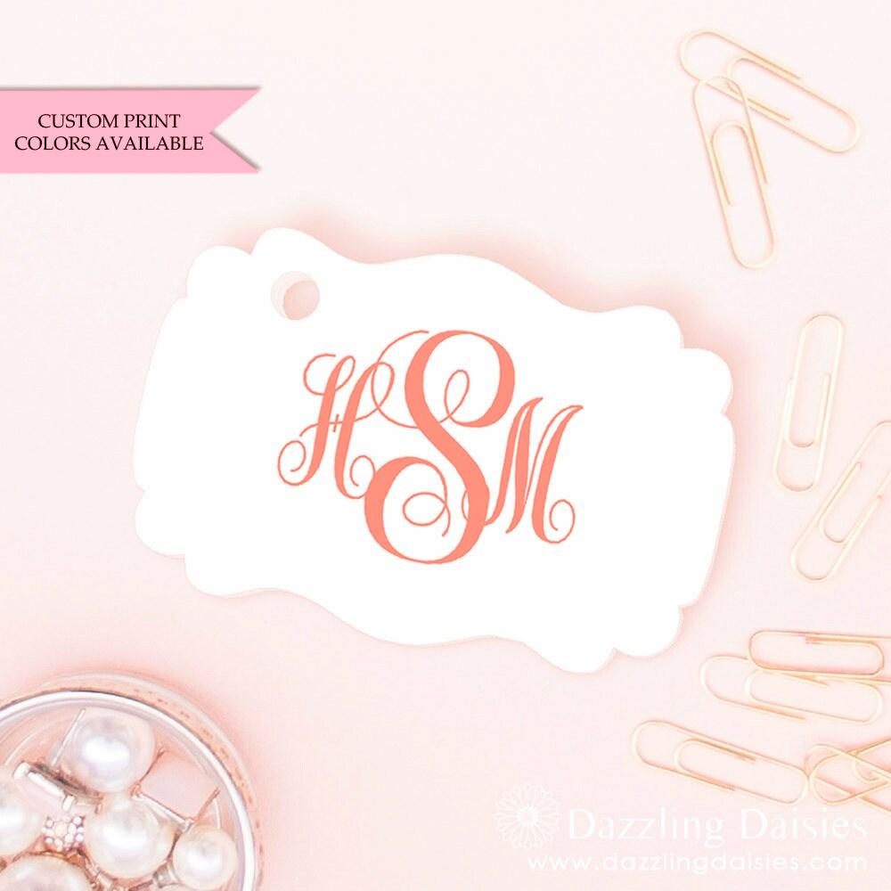 Monogram tag (30) - Personalized tag - Wedding favor tags - Monogram ...