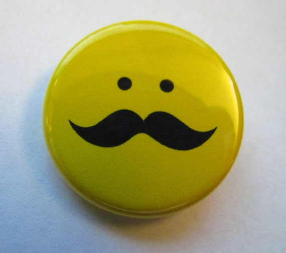 Moustache Smiley Badge de bouton