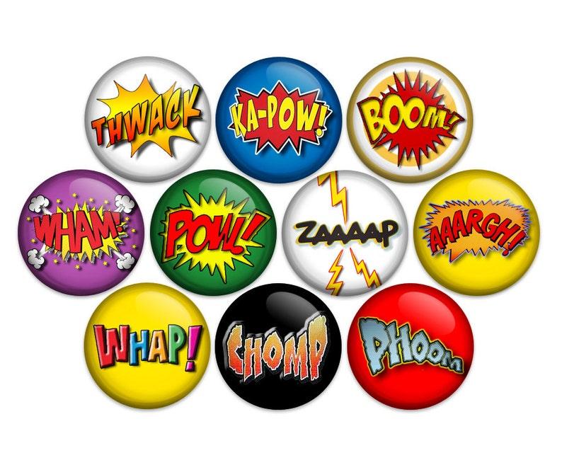 Superhero Comic Sound Effects Button Pin Back or Magnet Comic Action Words  Superhero Words Comic Book Cartoon 1 inch buttons (10 Pack)