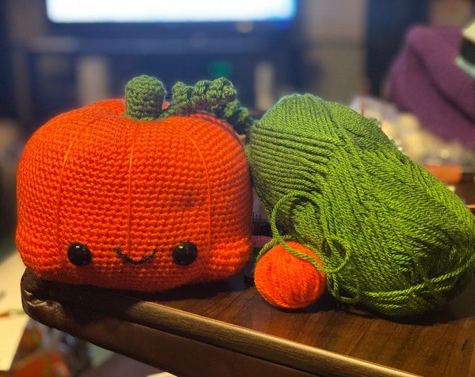 Ready to ship, cuddly kawaii pumpkin, Amigurumi, crochet, stuffed animal