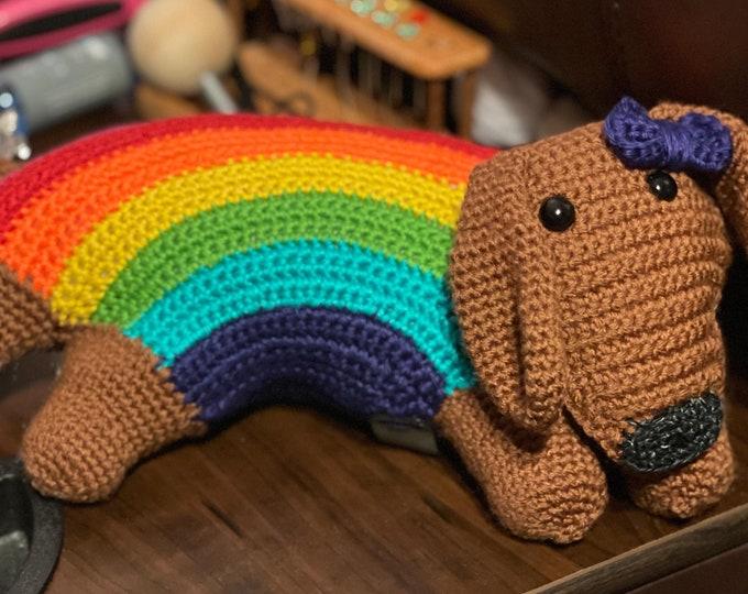 Brightly, the Pride Rainbow Puppy, Amigurumi, crochet, stuffed animal