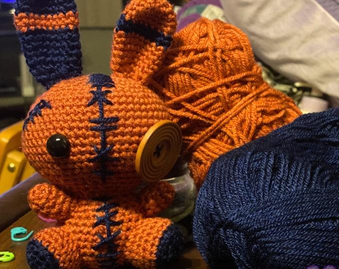Ready to ship, fall voodoo bunny, Amigurumi, crochet, plush toy