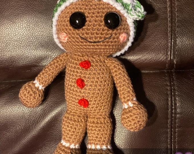 Ready to ship, gingerbread girl, Amigurumi, crochet, stuffed animal, with headband