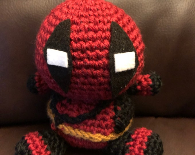 Made to order, Deadpool inspired, Amigurumi, crochet