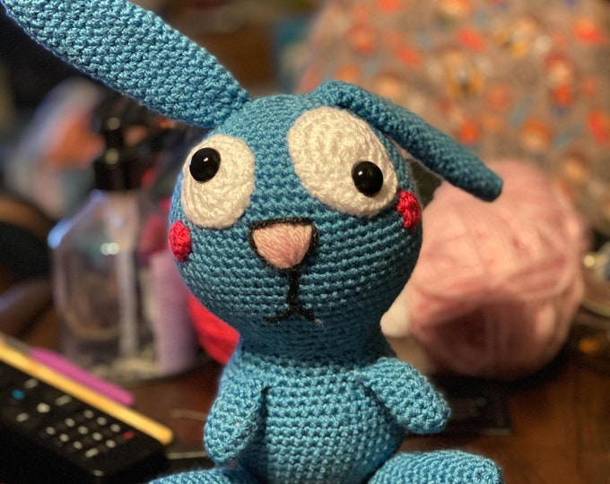 Zany, silly bunny, ready to ship, Amigurumi, crochet, stuffed animal