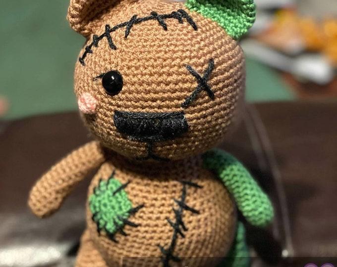 Ready to ship, Rick the Unbearably Cuddly Zombie Bear, Amigurumi, crochet, stuffed animal