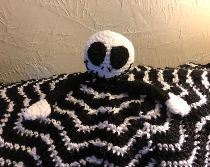 Jack Skellington Nightmare Before Christmas Inspired Lovey Blanket and amigurumi toy