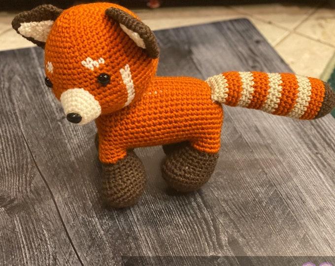 Ready-to-ship, red panda, amigurumi, crochet, stuffed animal