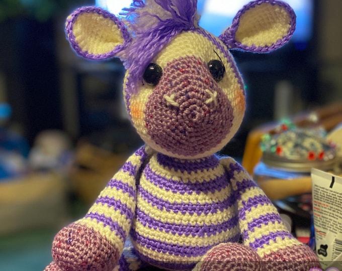 Ready to ship, purple striped zebra, amigurumi, crochet, stuffed animal