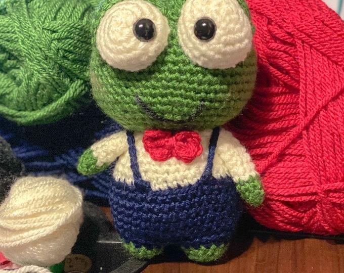 Ready to ship stuffed frog, Amigurumi, crochet, plush, stuffed animal