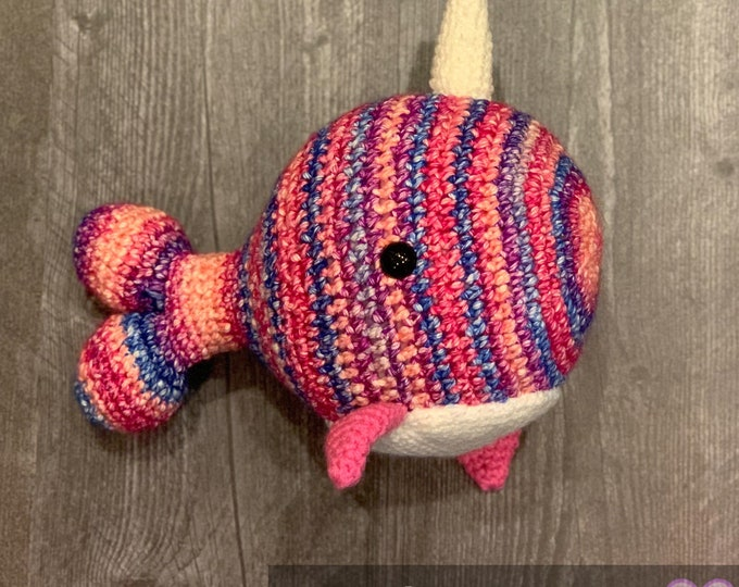 Ready to ship, Narwhal, Amigurumi, multi-colored plushie friend.
