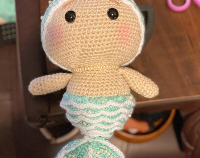 Marlena the Mermaid, ready to ship, Amigurumi, crochet, stuffed toy, plush cuddler