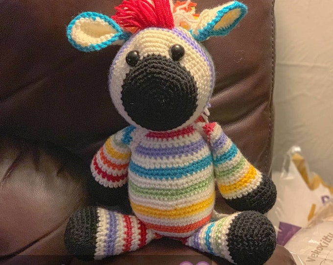 Brightly the rainbow zebra, made to order  Amigurumi, crochet, stuffed animal, plush