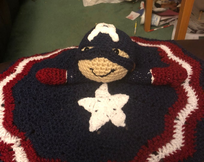 Captain America, Marvel Inspired Avengers Snuggler lovey blanket and amigurumi plush toy
