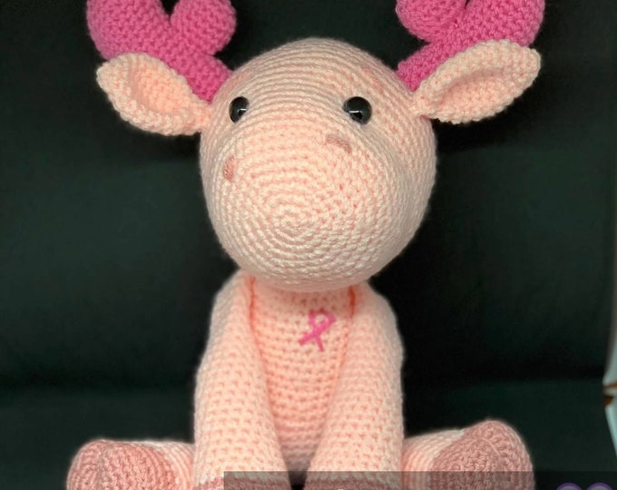 Special Edition, made to order, breast cancer awareness moose, Amigurumi, crochet
