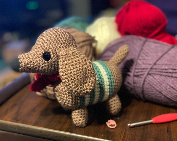 Ready to ship, dachshund, wiener dog, Amigurumi, crochet, stuffed animal