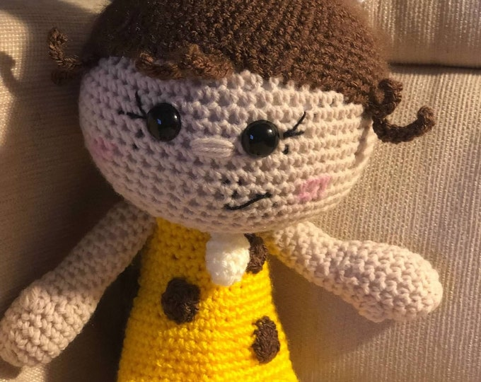 Ready to Ship, Little Cave Girl, Stuffed Amigurumi Doll