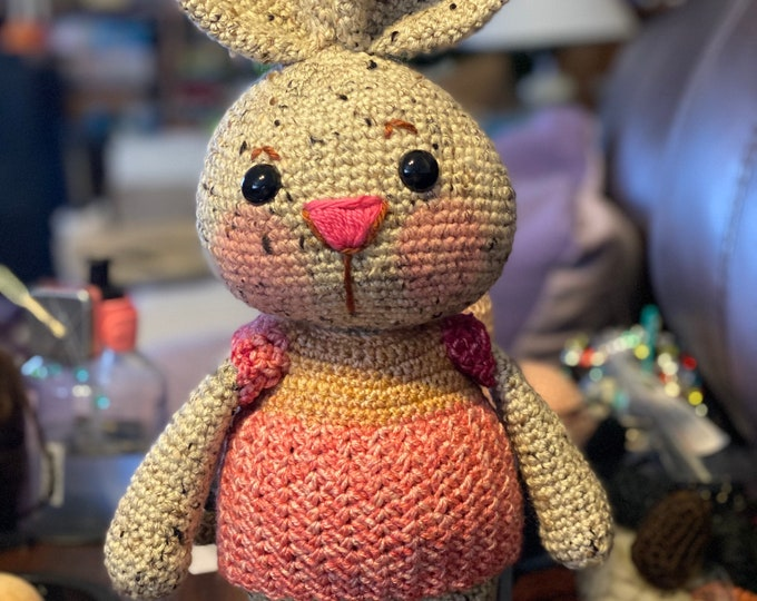 Benjamina the tweedy bunny, ready to ship, Amigurumi, crochet, stuffed animal