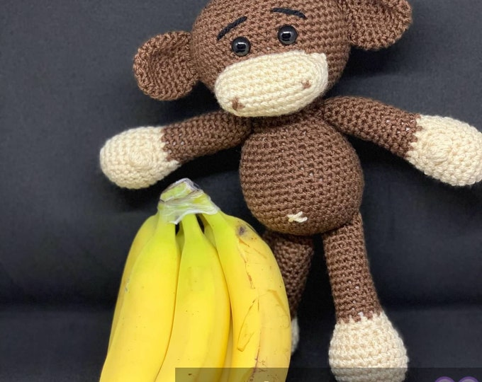 Ready to Ship, Amigurumi Stuffed monkey, crocheted monkey