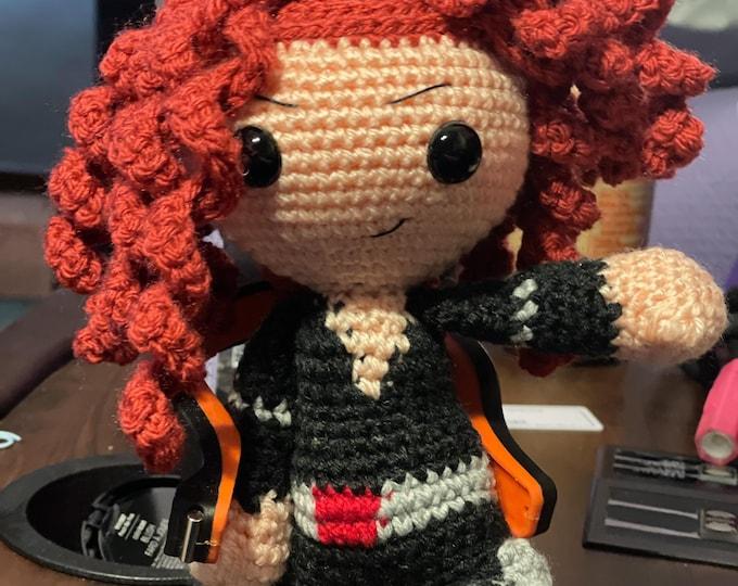 Ready to ship, Black Widow, fan inspired art, crochet, stuffed animal, Amigurumi