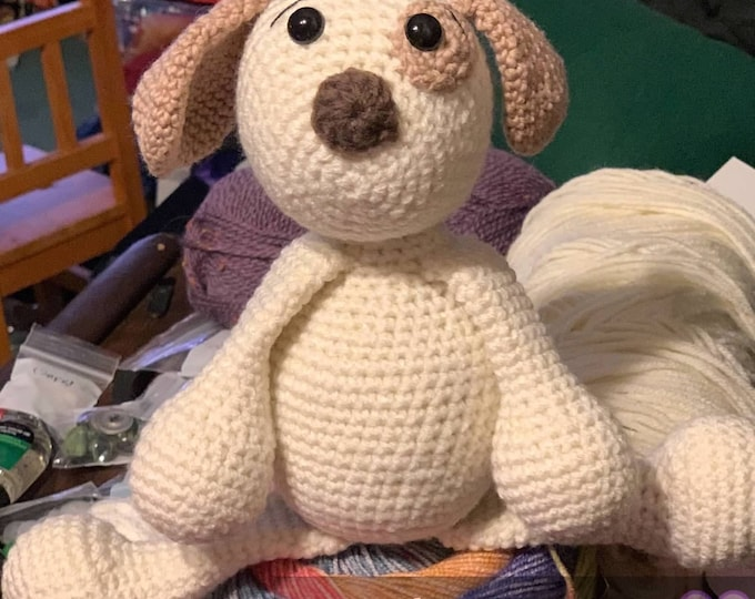 Rory the puppy, ready to ship, Amigurumi, crochet, plush, stuffed animal