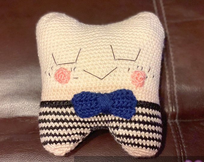 Ready to ship, Toby the tooth fairy, tooth pillow, Amigurumi, plush, pocket pillow