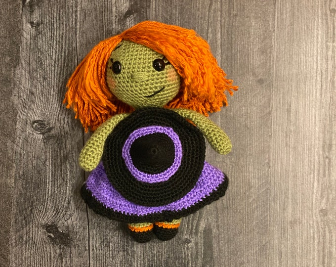Ready-to-ship, Cuddly witch, Halloween inspired, Amigurumi, crochet, plush, stuffed doll