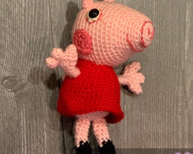 Ready to ship, Peppa Pig, Amigurumi, crochet stuffed animal