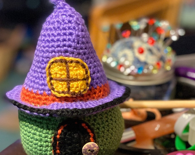 Ready to ship, Amigurumi, crochet, stuffed, plush, Halloween pumpkin witch hat house.