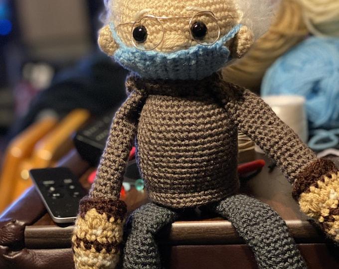 Bernie and his mittens, 2021 inauguration meme, crochet, stuffed toy, Amigurumi,made to order