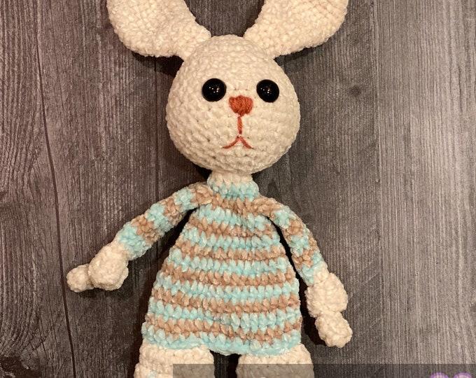 Ready-to-ship, baby bunny, velvet, Amigurumi, crochet cuddler