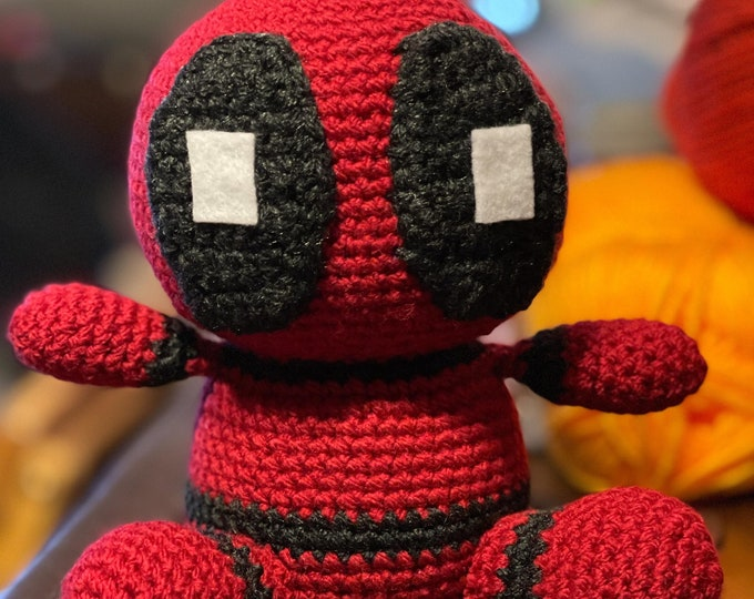 Made to order, Deadpool inspired, Amigurumi, crochet
