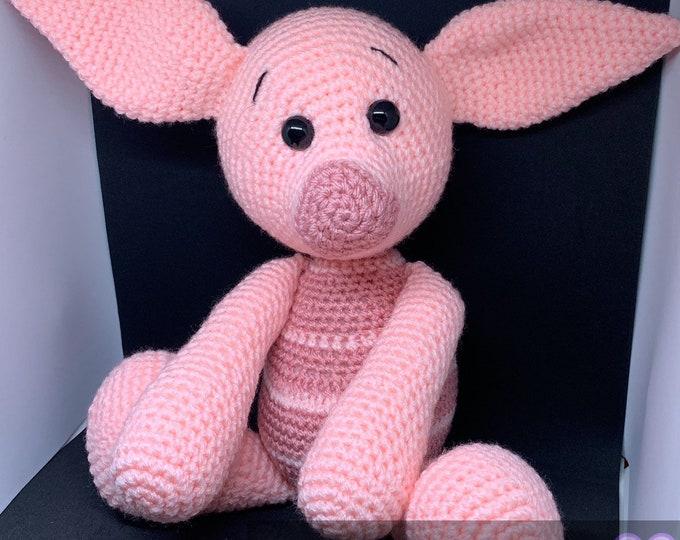 Made to order. piglet inspired, amigurumi, stuffed animal