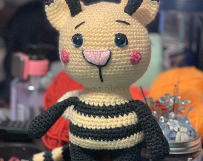 Made-to-order, Callie the Catterbee, cat/bee hybrid, amigurumi, crochet, stuffed animal