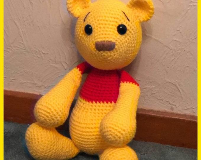 Made to order, Pooh Bear Inspired, Amigurumi, crochet toy