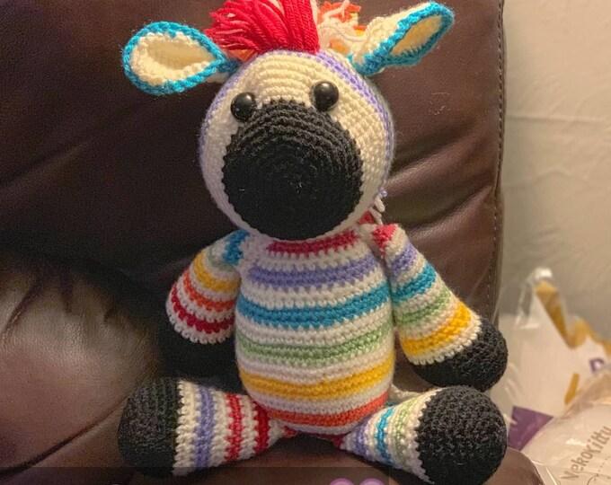 Brightly the rainbow zebra, made to order  Amigurumi, crochet, stuffed animal, plush