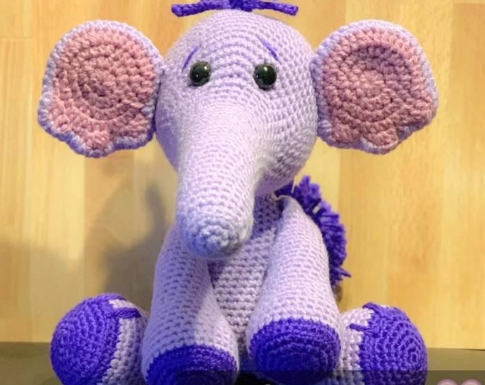 Made to order, Heffalump inspired elephant, Amigurumi, crochet, stuffed animal