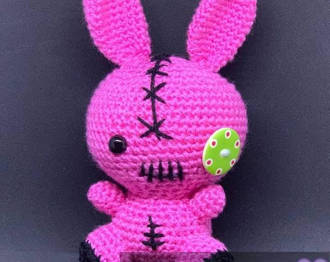 Colorful voodoo amigurumi bunny plush toy