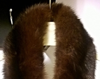 Beautiful Vintage Dark Brown Mink Fur Collar