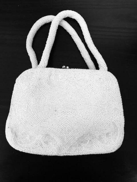 Wonderful Vintage White Hand Beaded Handbag