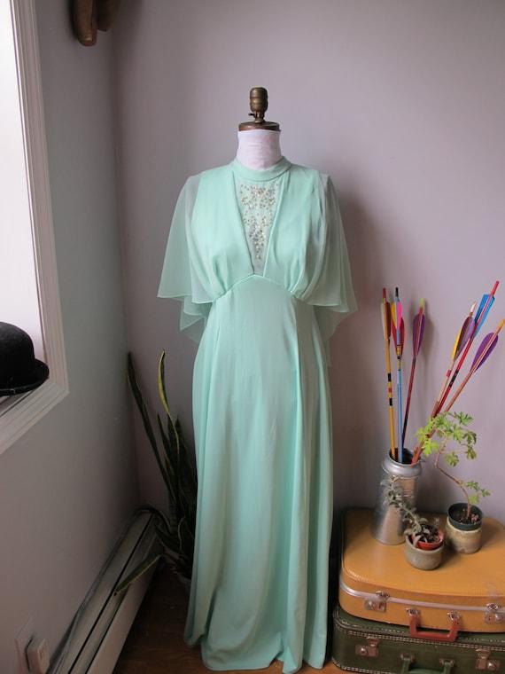 1960s Vintage Mint Cape Wedding Dress