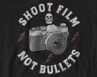 Film Camera TShirt, Shoot Film Not Bullets, Film Photography Short Sleeve T-Shirt, Retro Style Tshirt