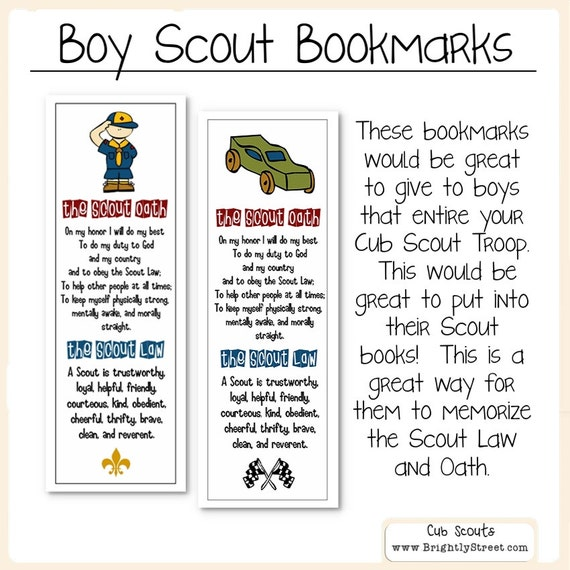 Cub Scouts Law And Oath Bookmarks Etsy